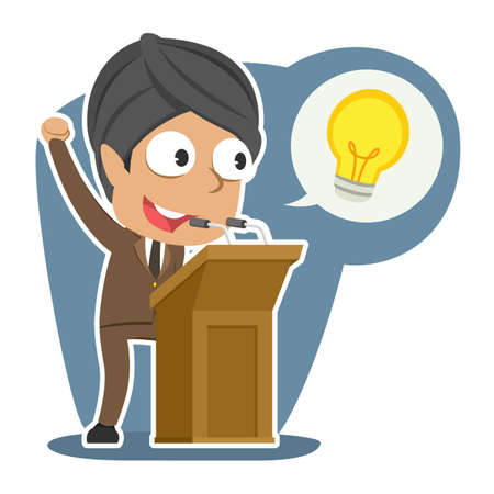Indian businessman giving speech about his idea  イラスト・ベクター素材