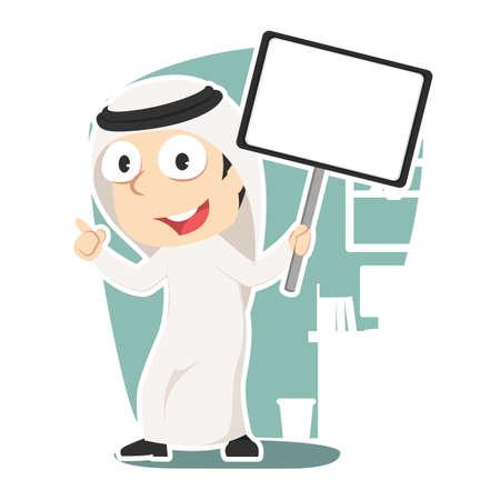 Arabian businessman holding board sign