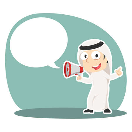 Arabian businessman with megaphone and call out illustration. Illustration