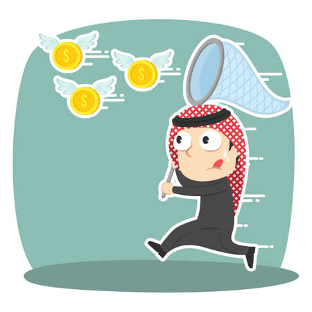 Arabian businessman trying to catch flying coins