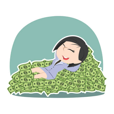 Asian businessman sleeping lying on money bed. Stock Vector - 92650102