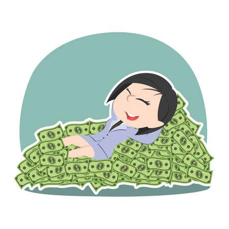 Asian businessman sleeping lying on money bed.