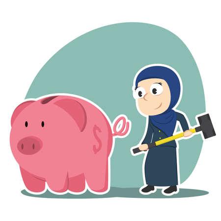 Arabian businesswoman going to break piggy bank. Illustration