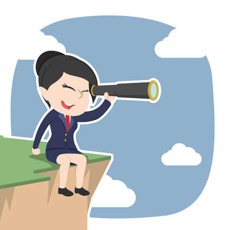 Asian businesswoman sitting on cliff edge and using telescope.