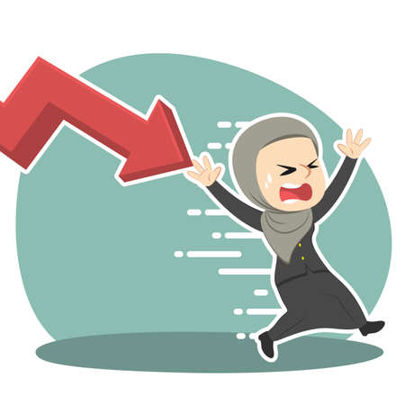 Arabian businesswoman being chased by down graph