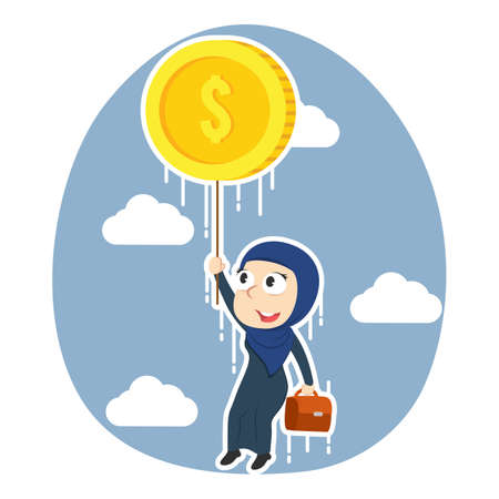 Arabian businesswoman flying with coin illustration. Illustration