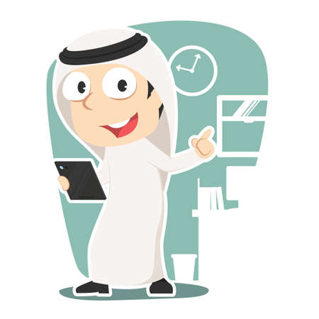 Arabian businessman holding tablet