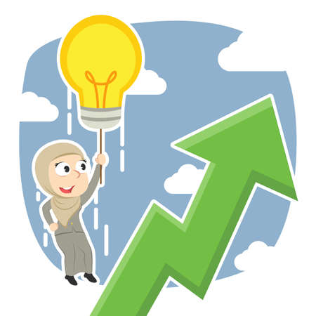 Arabian businesswoman fly with her idea and see upward graphic. Ilustração