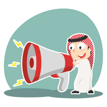 Arabian businessman talking into big megaphone. Illustration