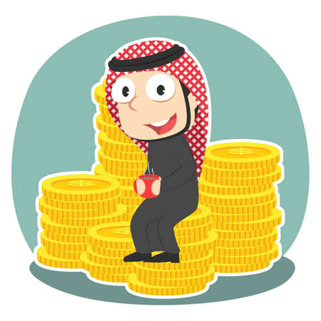 Arabian businessman drinking coffee on coins Illustration