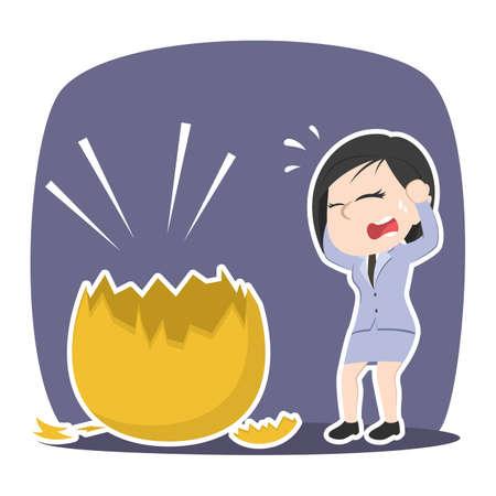 Asian businesswoman shocked when see her golden egg broke Ilustração