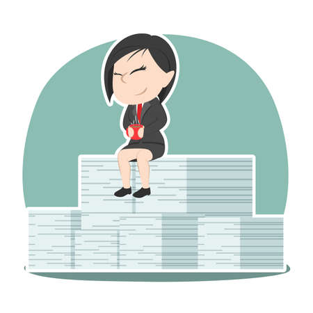 Asian businesswoman relaxing on her completed task stack Illusztráció