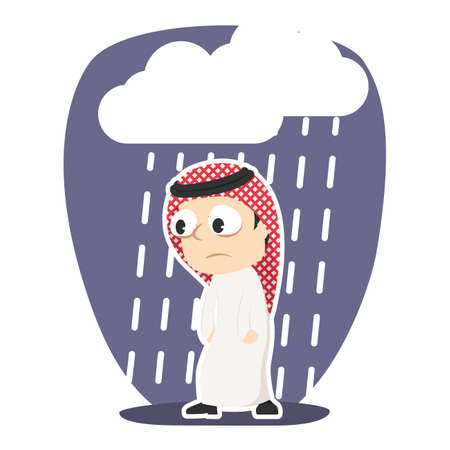 Tired Arabian businessman with raining cloud.