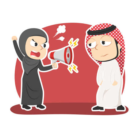 Arabian businesswoman yelling with megaphone to her male employee Illustration