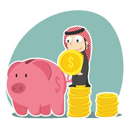 Arabian businessman saving money into piggy bank