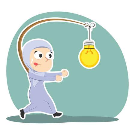 Arabian businesswoman is chasing bulb illustration. Illustration