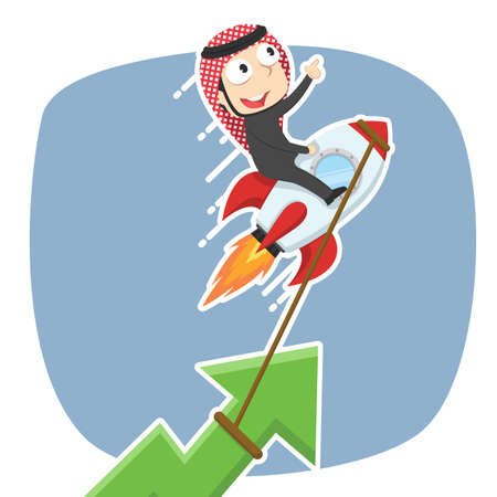 Arabian businessman raising graph using rocket concept illustration.