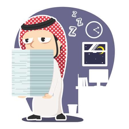 Sleepy arabian businessman carrying pile of paper
