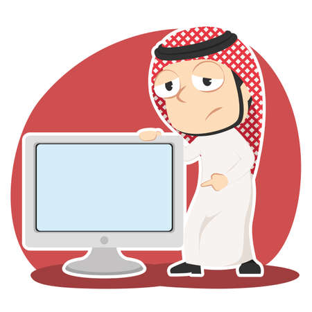 Sad Arabian businessman presenting big blank monitor illustration.