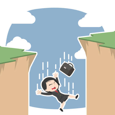 Asian businesswoman fall from cliff illustration.