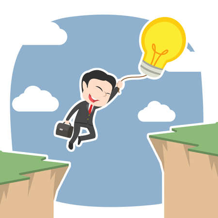 Asian businessman use his balloon idea to cross over cliff Illustration