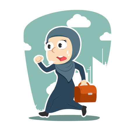 Arabian businesswoman running to work