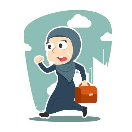 Arabian businesswoman running to work