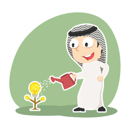 Arabian businessman watering his idea tree for growing