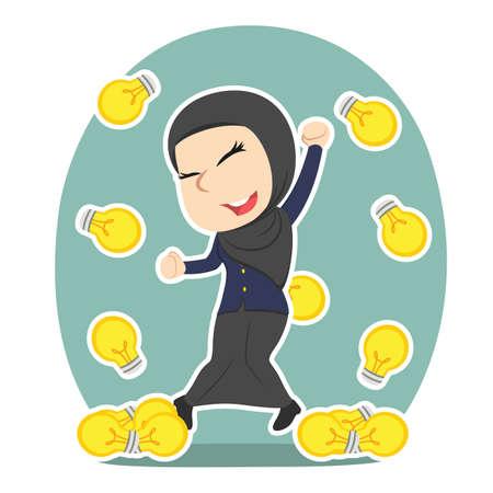 Arabian businesswoman idea bulbs raining. Illustration