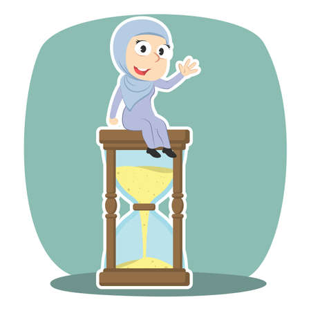 Arabian businessman is sitting on hourglass