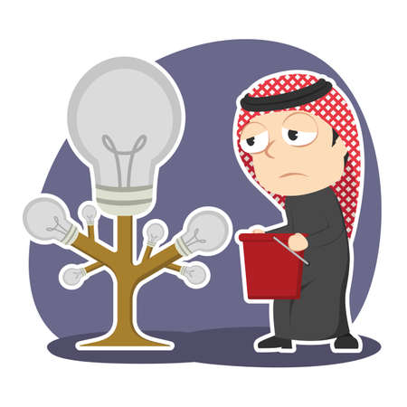 Arabian businessman is harvesting dim bulb tree Illustration