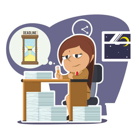 Tired indian businesswoman working overtime due deadline