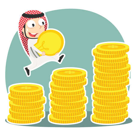 Arabian businessman climbing coin stairs while carrying idea. Illustration