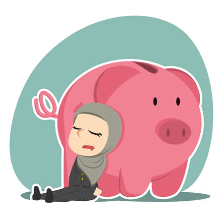 Arabian businesswoman sleeping beside piggy bank illustration.