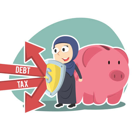Arabian businesswoman protecting piggy bank form debt and tax