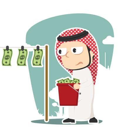 Arabian businessman drying money illustration.