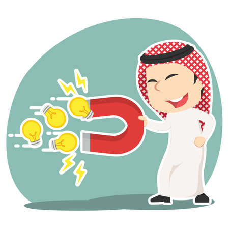 Arabian businessman using magnet to attract ideas illustration. Reklamní fotografie - 92521561