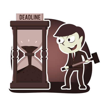 Retro style businessman want to break deadline hourglass with hammer