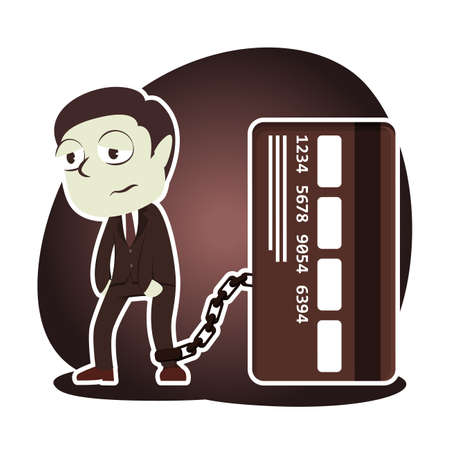 Retro style businessman chained with credit card illustration.