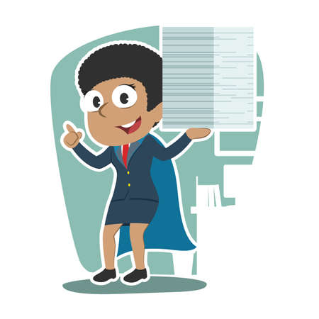 Super African businesswoman completed many task illustration.  イラスト・ベクター素材