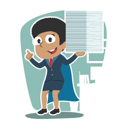 Super African businesswoman completed many task illustration. Illustration