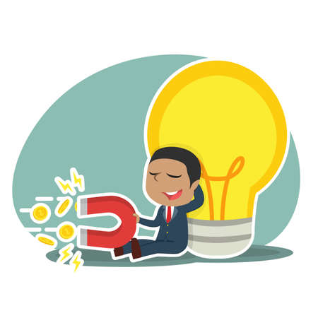 African businessman relaxing beside big bulb and pulling coin by magnet. Illustration