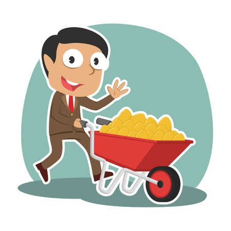 Indian businessman and wheelbarrow filled with golden eggs.