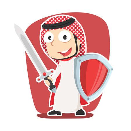 Super arabian businessman with sword and shield Illustration