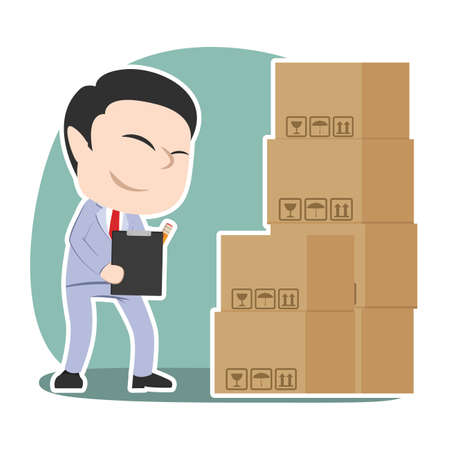 Asian businessman checking packages