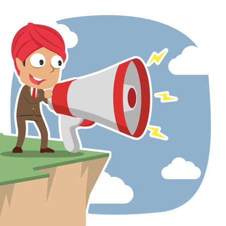 Indian businessman shouting with big megaphone on cliff edge