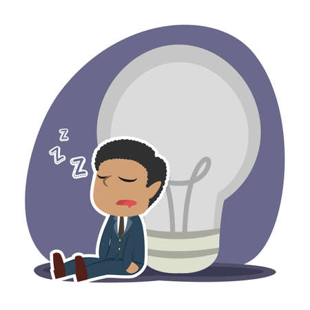African tired businessman sleeping beside dim bulb Ilustrace
