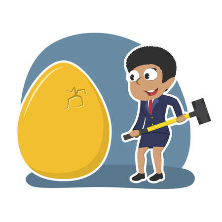 African businesswoman wants to break her golden eggs Illustration