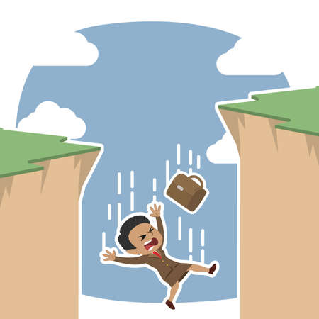 African businesswoman fall from cliff illustration.