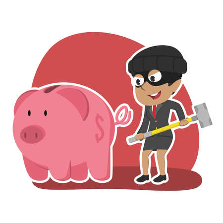 African thief businesswoman want to break piggy bank